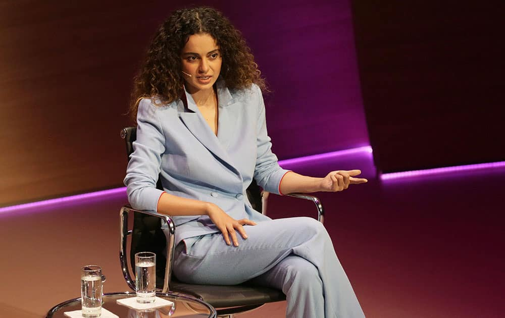 Bollywood actress Kangana Ranaut speaks during the Women in the World Summit at Cadogan Hall in London.
