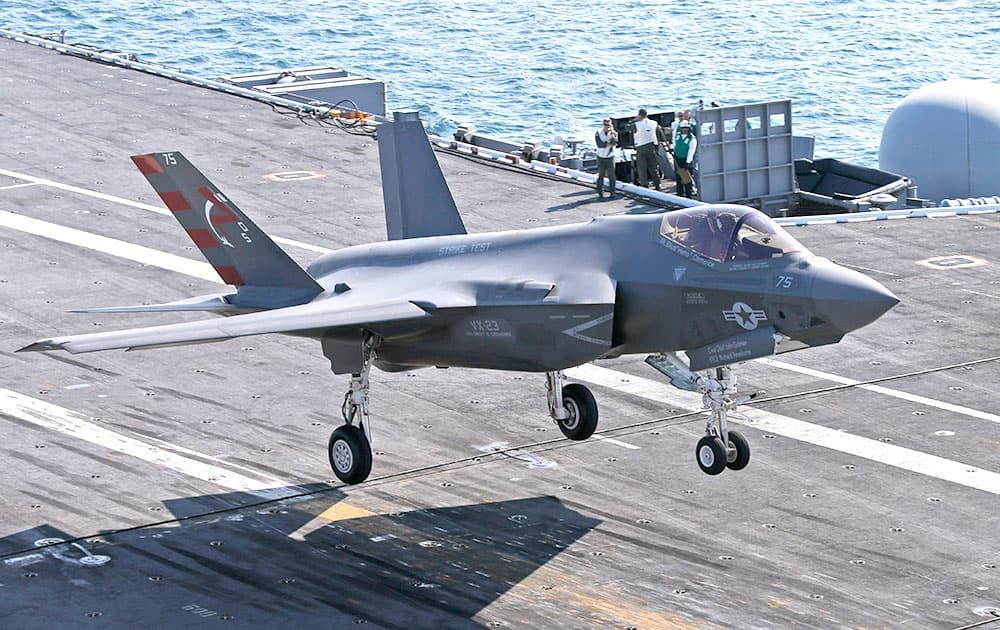 An F-35C Lightning II test aircraft approaches for a landing aboard the nuclear powered aircraft carrier USS Dwight D. Eisenhower of the coast of Norfolk, Va.
