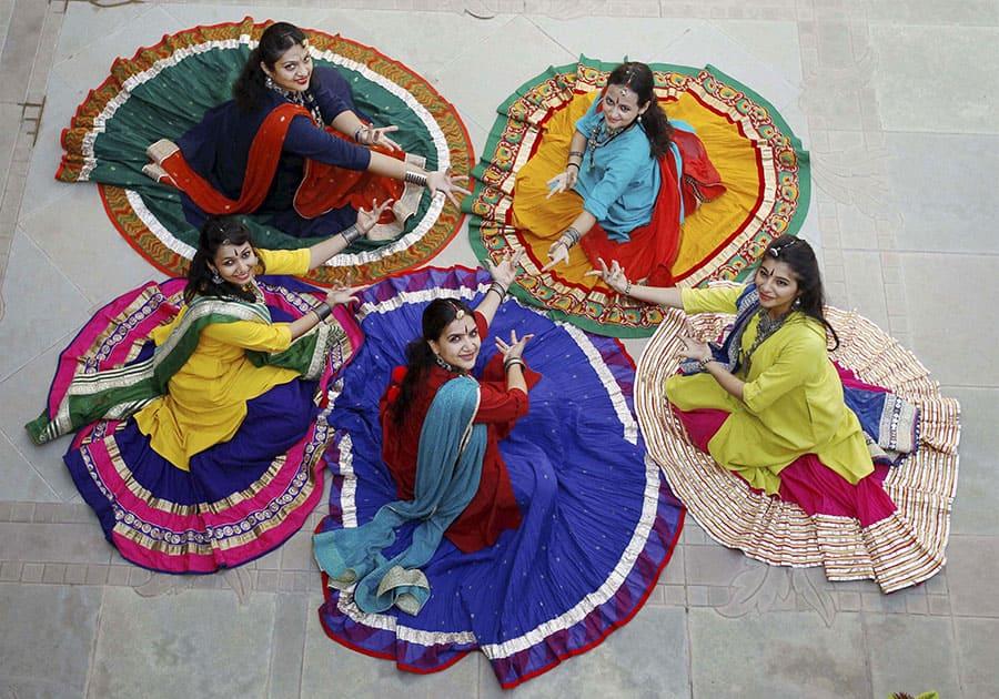 Girls practicing Garba dance ahead of Durga Puja festival in Ahmedabad.
