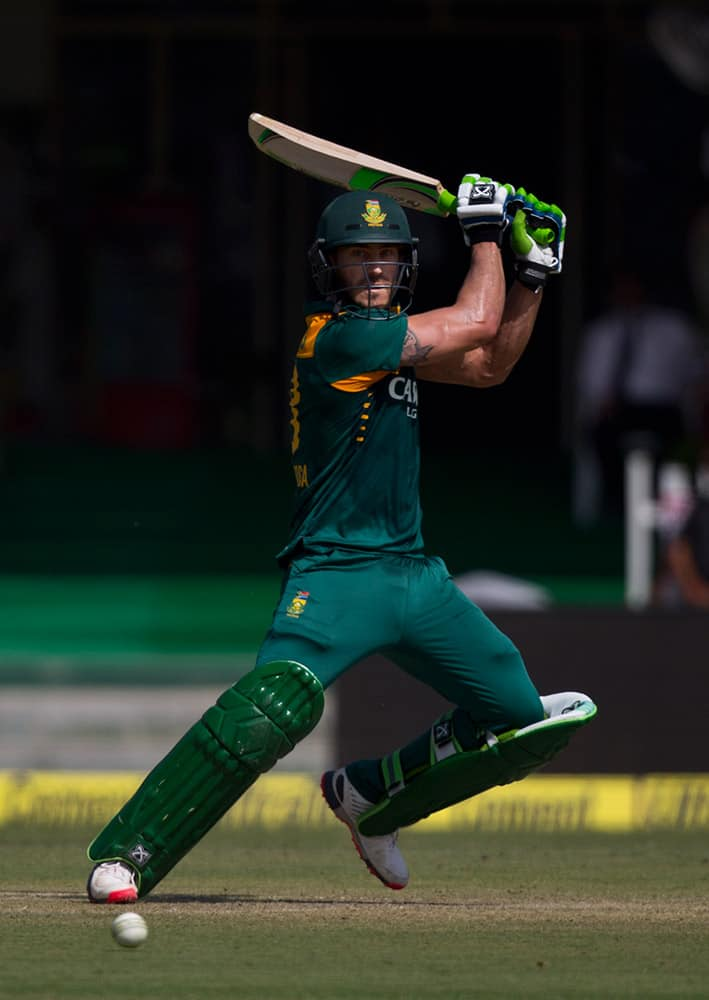 South African batsman Faf du Plessis plays a shot while playing against India in the first of their five one-day match series in Kanpur, India.