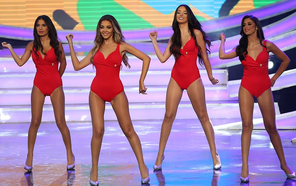 Contestants of the Miss Lebanon 2015 beauty pageant dance in the swimsuit contest at Casino Du Liban, north of Beirut.