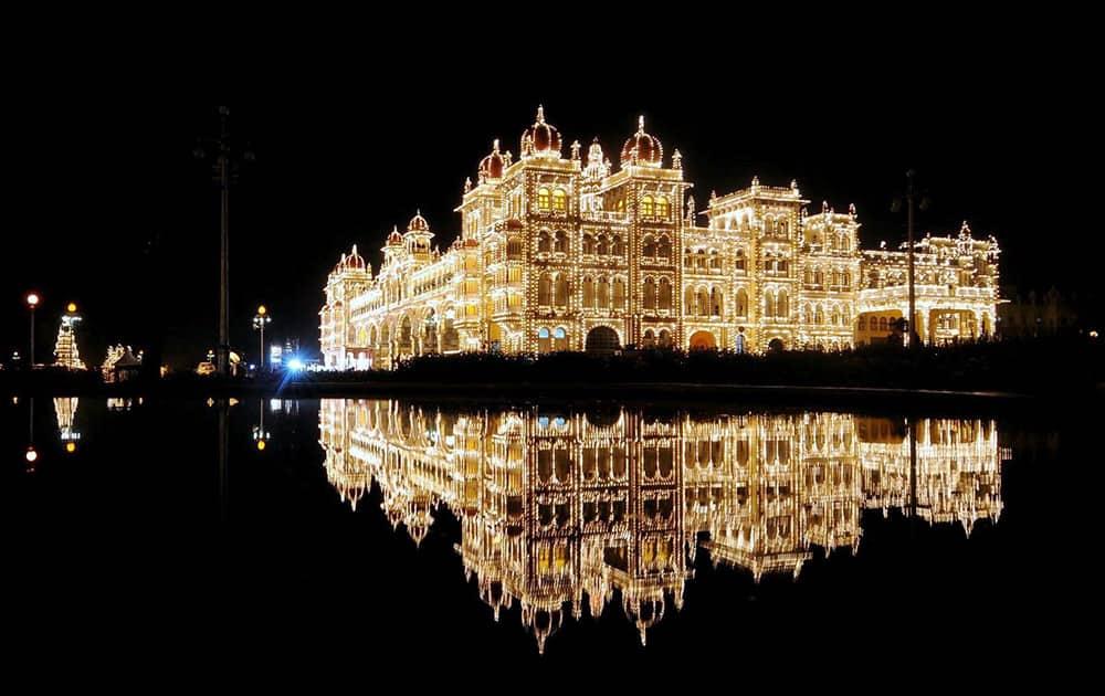 Illumination of lighting on Mysore palace ahead of the Dussehra festival in Mysore.