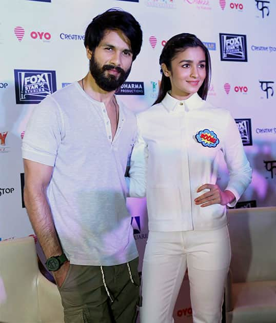 Bollywood actor Shahid Kapoor & Alia Bhatt during a promotional event of their upcoming film Shaandaar in New Delhi.