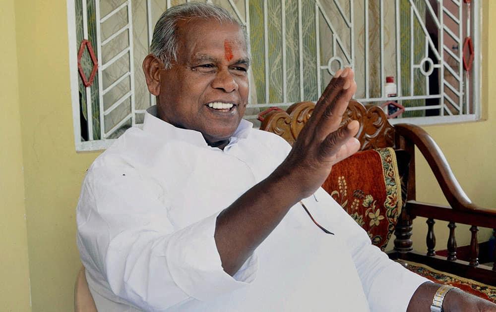 Hindustani Awam Morcha (HAM) Chief Jitan Ram Manjhi during second phase of Bihar Assembly elections at Imamganj.