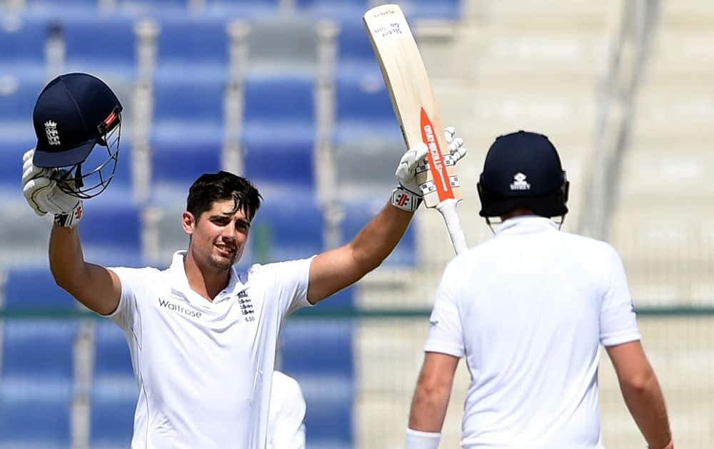 England captain Alastair Cook reacts after reaching his double century during the fourth day of first test match against Pakistan at Zayed Cricket Stadium in Abu Dhabi, United Arab Emirates.