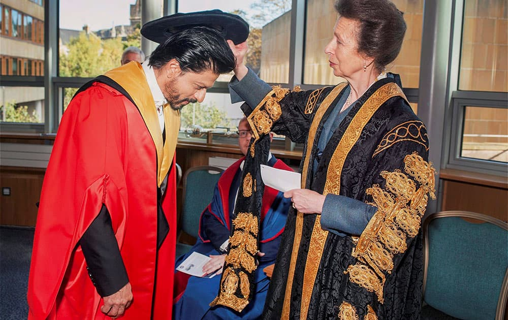 The Princess Royal of Edinburgh confers the Doctorate degree (Honoris Causa) upon Bollywood superstar Shah Rukh Khan at a function at the University of Edinburgh, Scotland.