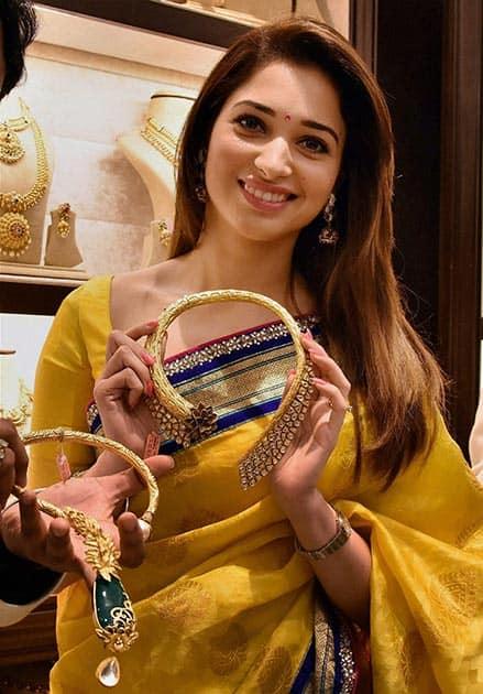 Actress Tamannah during promotional event at Punjagutta in Hyderabad.