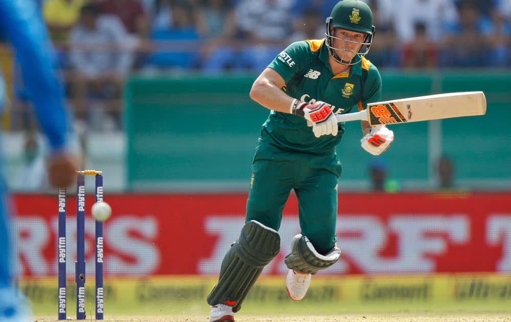 South Africa's David Miller, plays a shot during their third one-day international cricket match against India in Rajkot.