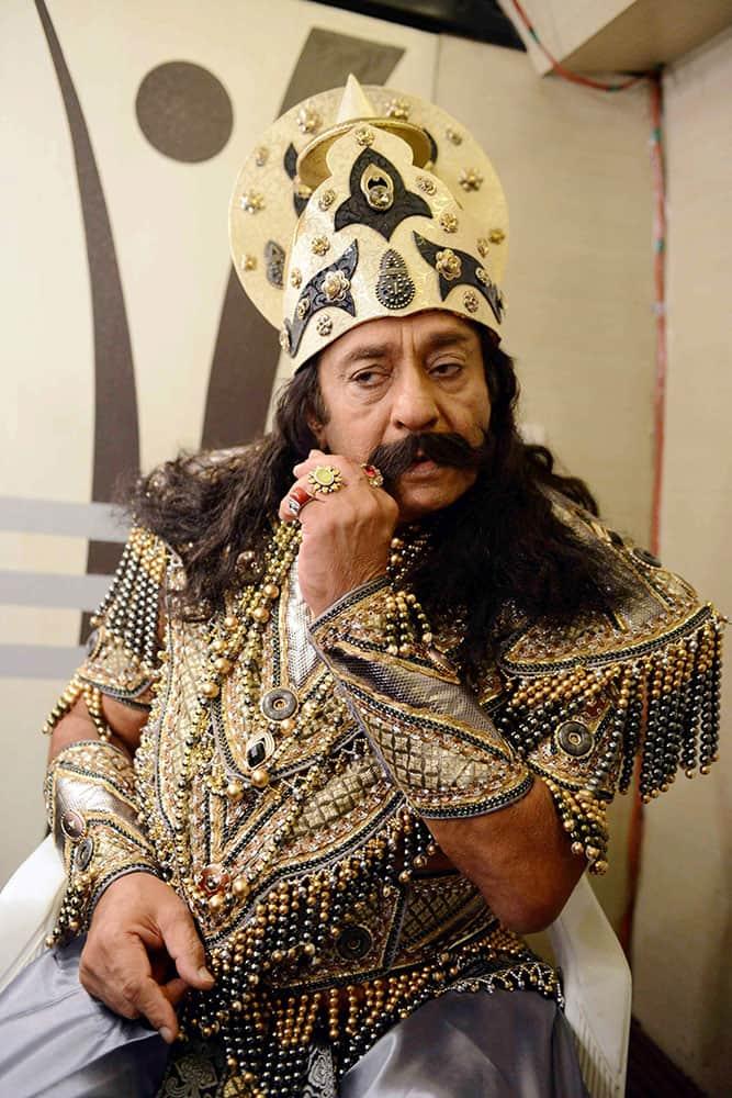 Bollywoods veteran villain Ranjeet takes part in a Ramlila in New Delhi.