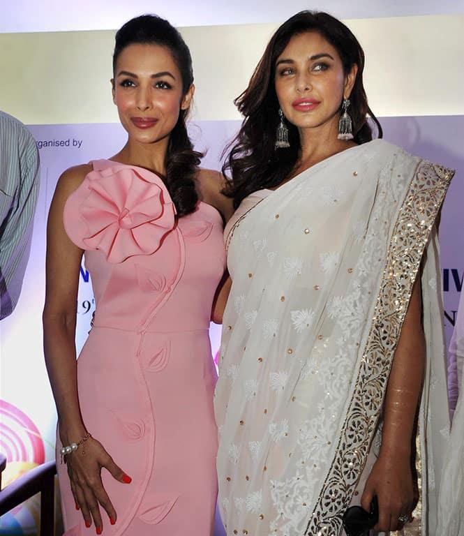 Bollywood Actresses Malaika Arora Khan and Lisa Ray at a promotional event in Tata Memorial Hospital in Mumbai.
