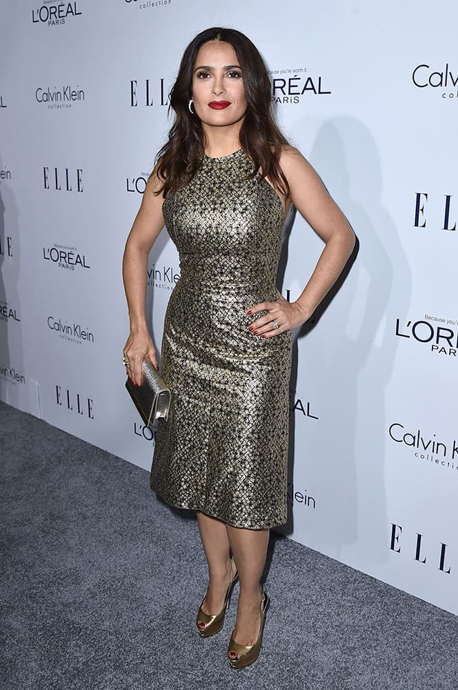 Salma Hayek attends the 2015 ELLE Women in Hollywood Awards at the Four Seasons Hotel in Los Angeles.