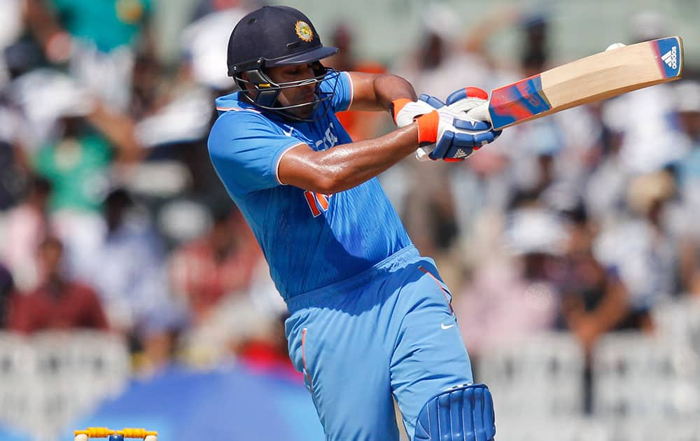 Rohit Sharma plays a shot during their fourth one-day international cricket match against South Africa in Chennai.