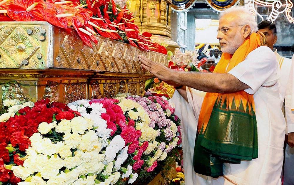 Prime Minister Narendra Modi performing worship at Lord Venkateswara Temple in Tirupati.