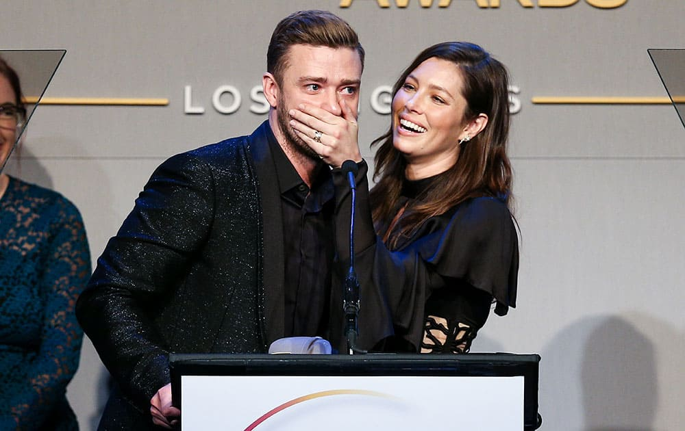 Honorees Justin Timberlake, left, and Jessica Biel accept the Inspiration Award onstage during the GLSEN Respect Awards at the Beverly Wilshire Hotel.