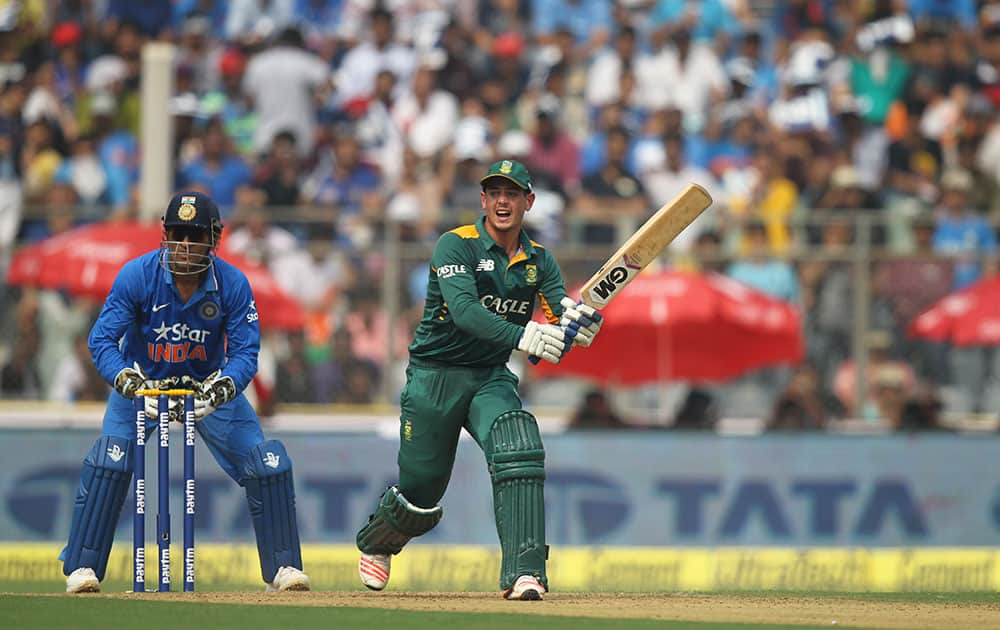 South Africa's Quinton de Kock bats during the final one-day international cricket match of a five-game series against India in Mumbai, India.