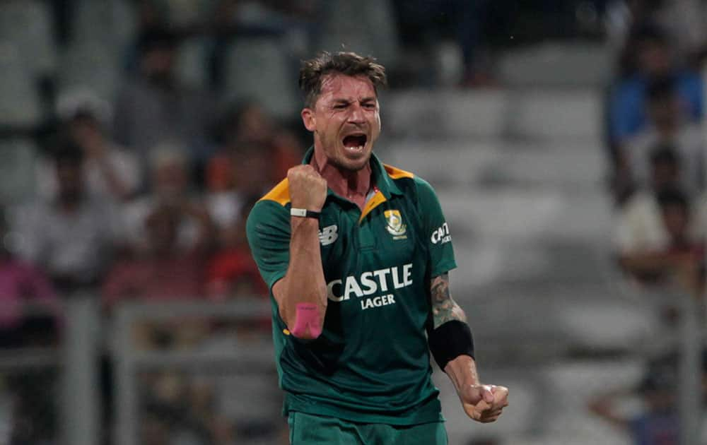 South Africa's Dale Steyn, celebrates the wicket of India's Axar Patel during the final one-day international cricket match of a five-game series in Mumbai, India.