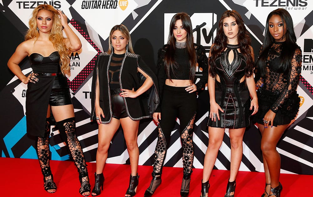 Fifth Harmony arrive for the 2015 MTV European Music Awards in Milan, Italy.