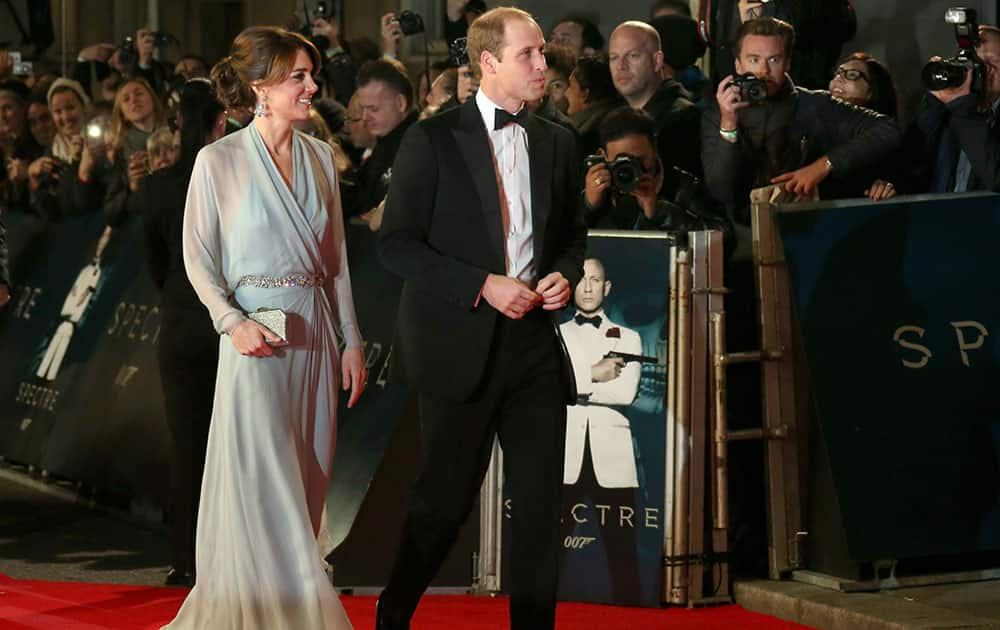 The Duchess of Cambridge and the Duke of Cambridge arrive for the World Premiere of 'Spectre' at the Royal Albert Hall in central London.