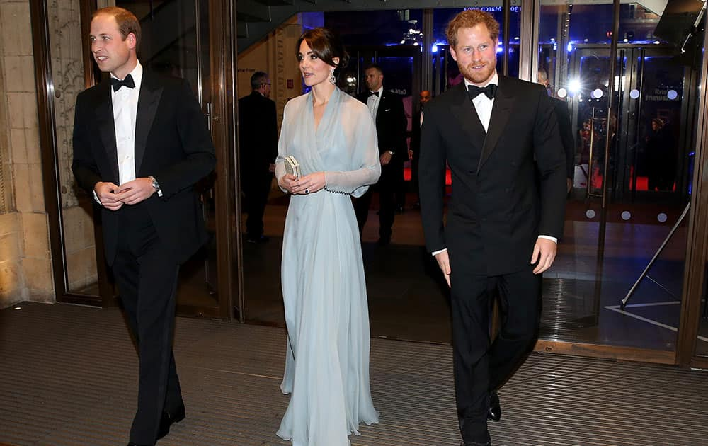Britain's Prince William, Kate the Duchess of Cambridge and Prince Harry attend the World Premiere of the new James Bond film Spectre, in London.