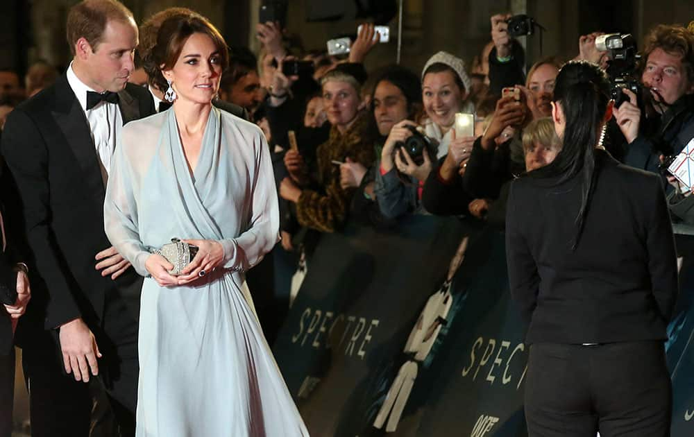 The Duchess of Cambridge arrives for the World Premiere of 'Spectre' at the Royal Albert Hall in central London.