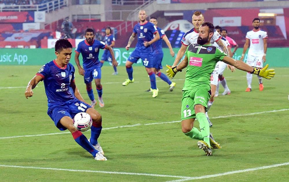 Mumbai City FCs Sunil Chetri in action against Delhi Dynamos FC during the Indian Super League (ISL) match at DY Patil Stadium in Navi Mumbai.
