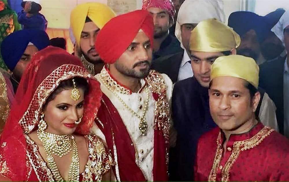 Cricketer Sachin Tendulkar attending the marriage of Harbajan Singh and Geeta Basra, in Jalandhar.
