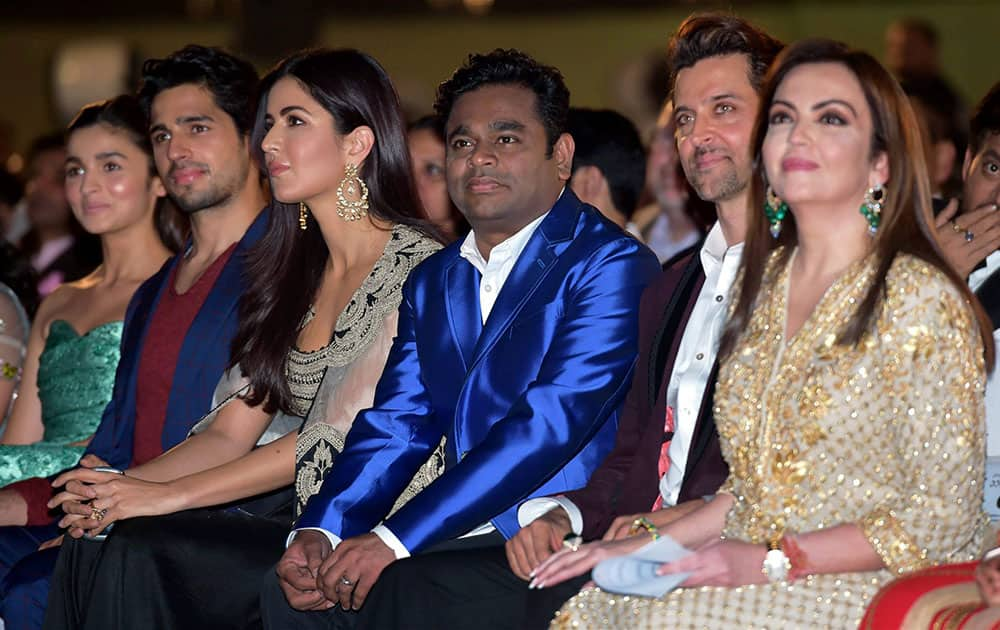 Bollywood actors Hritik Roshan and Katrina Kaif along with Neeta Ambani, Sidharth Malhotra and Alia Bhat during the opening ceremony of 17th edition of Jio MAMI Mumbai Film Festival, in Mumbai.