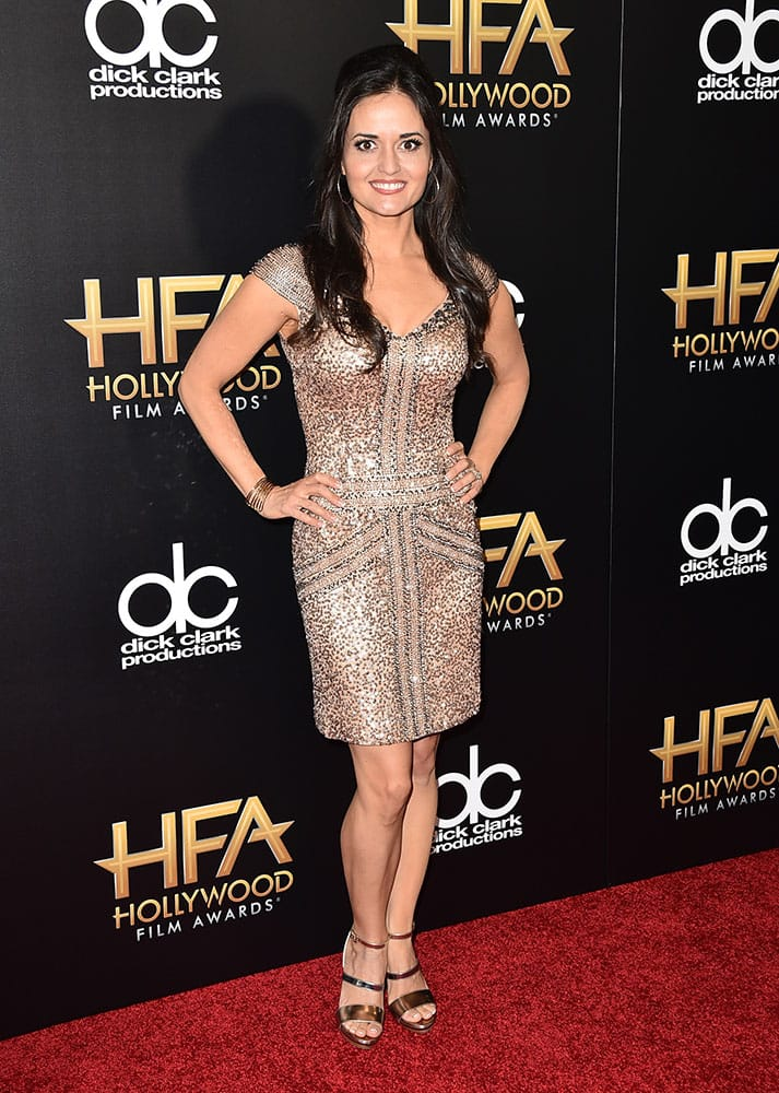 Danica McKellar arrives at the Hollywood Film Awards at the Beverly Hilton Hotel in Beverly Hills, Calif.