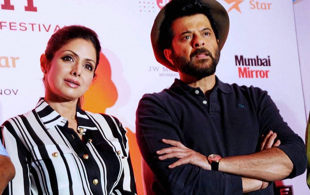 Bollywood actors Anil Kapoor and Sridevi at the Jio MAMI 17th Mumbai Film Festival in Mumbai.