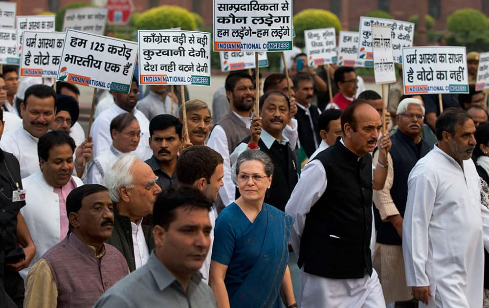 India's opposition Congress party president Sonia Gandhi leads a march of party leaders to the Presidential palace in New Delhi.