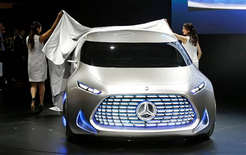 Mercedes-Benz's concept car Vision Tokyo is unveiled at the media preview of the Tokyo Motor Show in Tokyo Wednesday, Oct. 28, 2015.