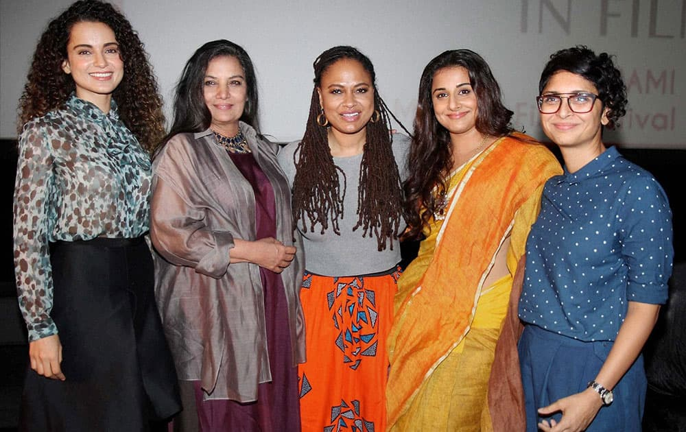 Actors Kangana Ranaut and Shabana Azmi, American filmmaker Ava Duvernay, Actor Vidya Balan, MAMI Chairperson Kiran Rao during the Women in Film panel discussion, at the Jio MAMI 17th Mumbai Film Festival in Mumbai.