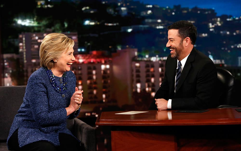 Democratic presidential candidate Hillary Rodham Clinton, laughs with host Jimmy Kimmel, during 'Jimmy Kimmel Live' in Hollywood, Calif.