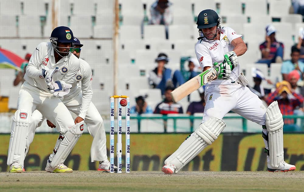 South Africa's AB de Villiers plays a shot during the third day of their first cricket test match against India in Mohali.
