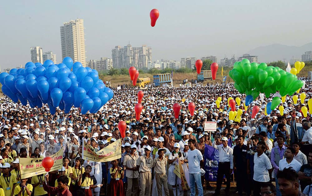 Thousands of students participate in the Smart City Walkathon organised by Navi Mumbai Municipal Corporation in Mumbai.