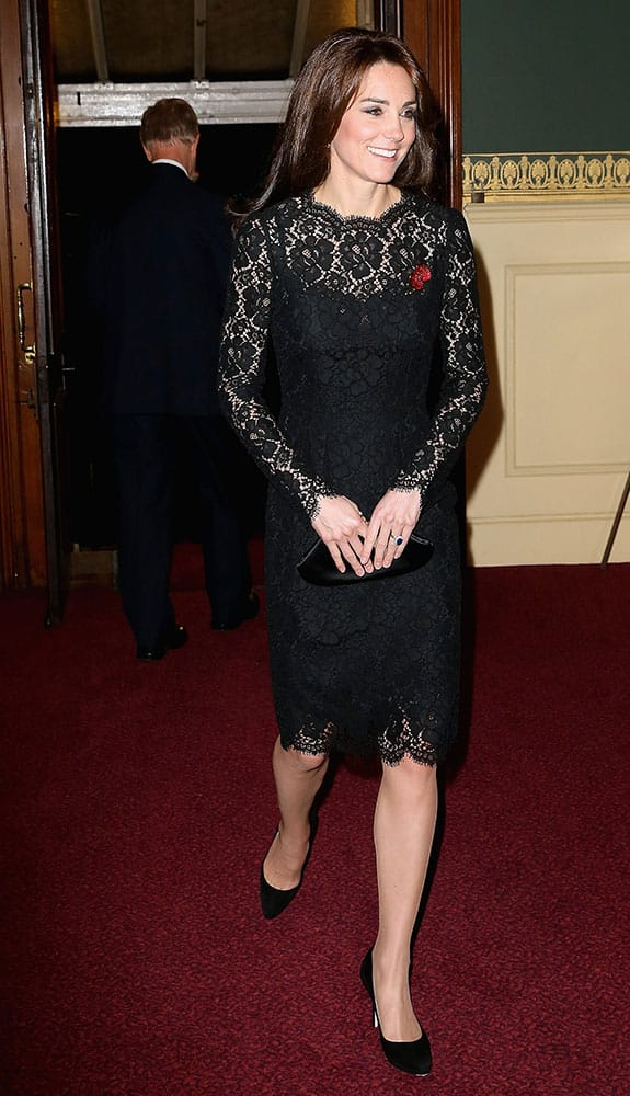 Kate, the Duchess of Cambridge arrives at the Royal Albert Hall for the Annual Festival of Remembrance, in London, England.