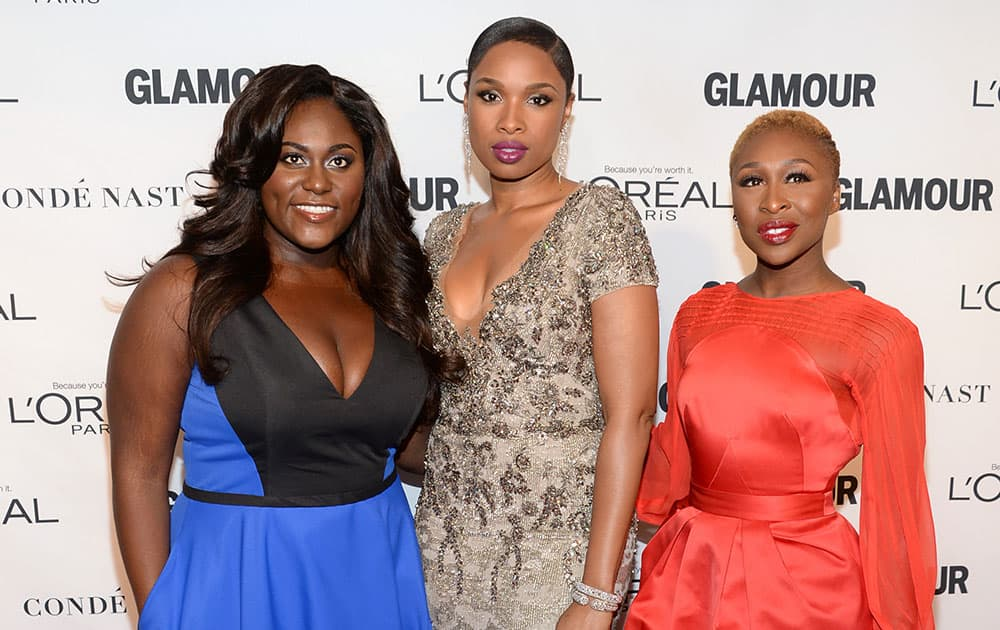 Danielle Brooks, from left, Jennifer Hudson and Cynthia Erivo attend the 25th annual Glamour Women of the Year Awards at Carnegie Hall in New York.
