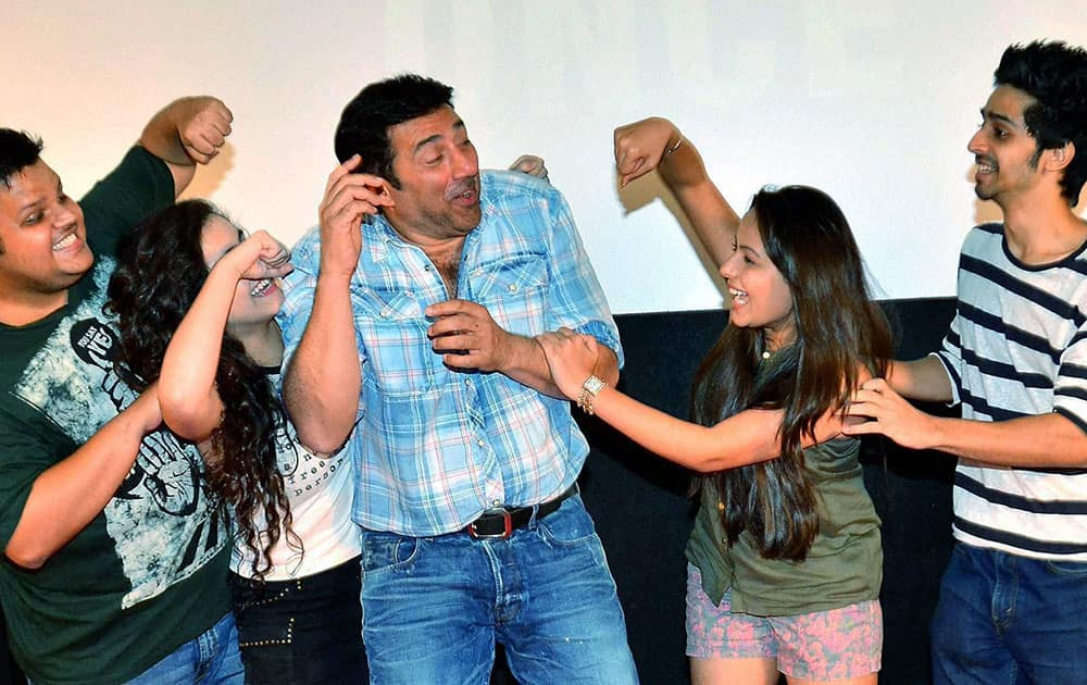 Bollywood actors Rishabh Arora, Daina Khan, Sunny Deol, Aanchal Munjal and Shivam Patil during the trailer launch of film Ghayal Once Again in Mumbai.