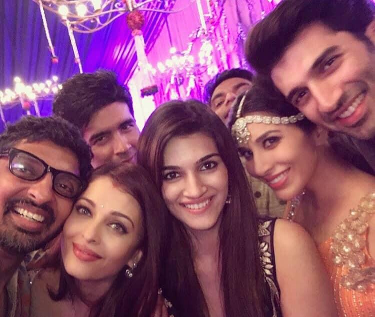 SOPHIE CHOUDRY :-Tku my beautiful Ash & Abhi @bachchan for an epic Diwali night #selfie #diwali #bachchans #whatanight #friends #happyfaces @manishmalhotra05 @kritisanon @adityaroykapoor @ashesinwind #aishwaryaraibachchan #aboutlastnight -instagram