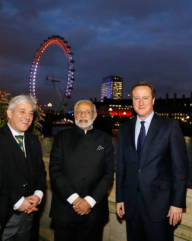 Britain's Prime Minister David Cameron with India's Prime Minister Narendra Modi and Speaker of the House of Commons, John Bercow as they tour Parliament in London.
