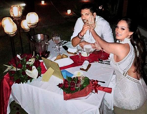 Yuvraj Singh and Model-actress Hazel Keech who got engaged in Bali, Indonesia.