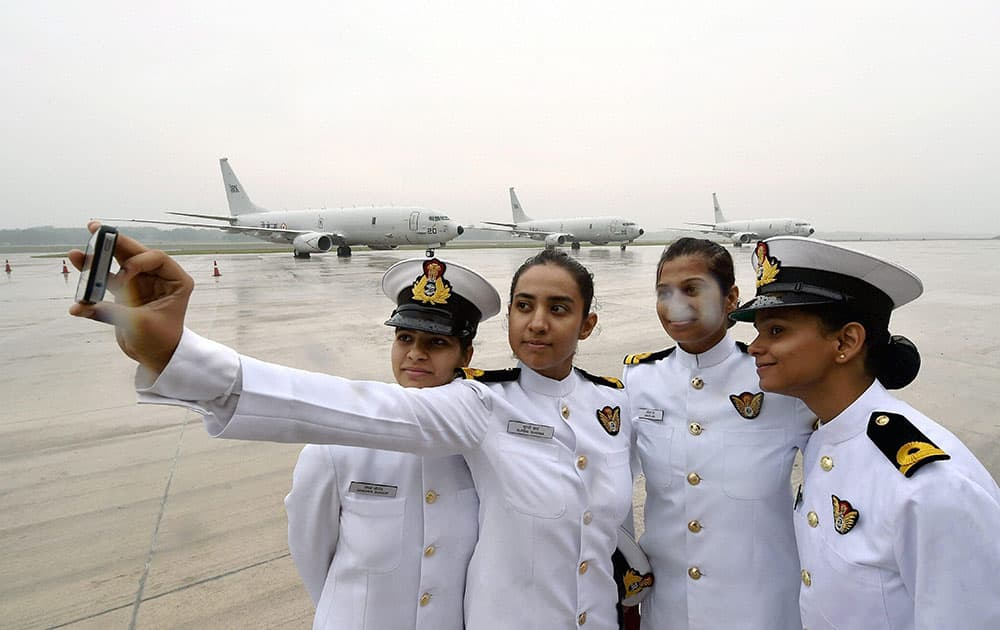 Women Navy personnel taking a selfie at the Induction Ceremony of P8i Aircraft into Indian Navy at INS Rajali, Arakkonam near Chennai.