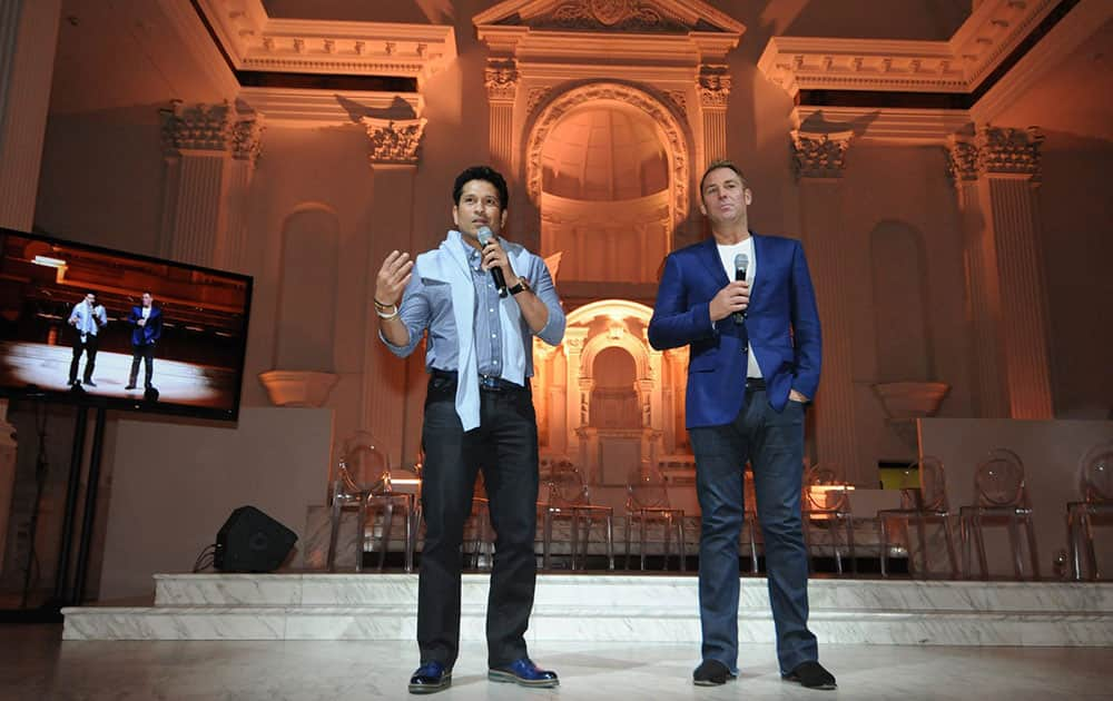Cricket greats Sachin Tendulkar, left, and Shane Warne address the crowd during the Cricket All-Stars Cocktail Reception that took place at Vibiana in Los Angeles, Calif.