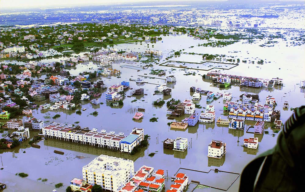 An aerial view of flood affected areas of Kanchipuram District on the outskirt of Chennai.