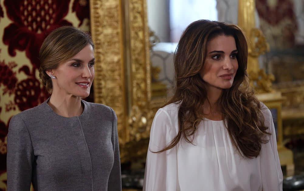 Jordan's Queen Rania, poses with Queen Letizia before a lunch meeting at the Royal Palace in Madrid, Spain.