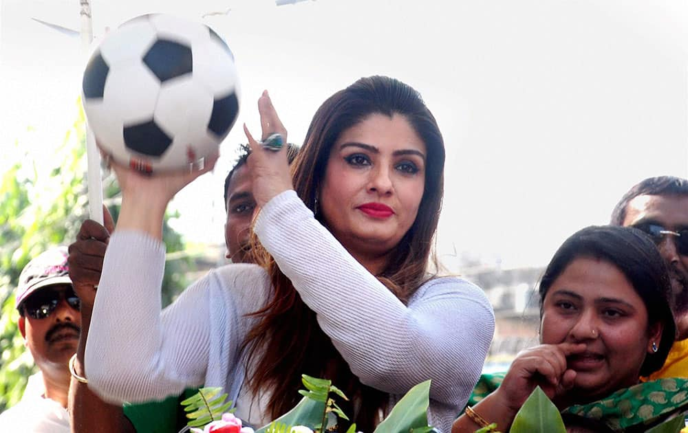 Bollywood actress Raveena Tendon in a road show to promote a football tournament in Malda city of West Bengal.