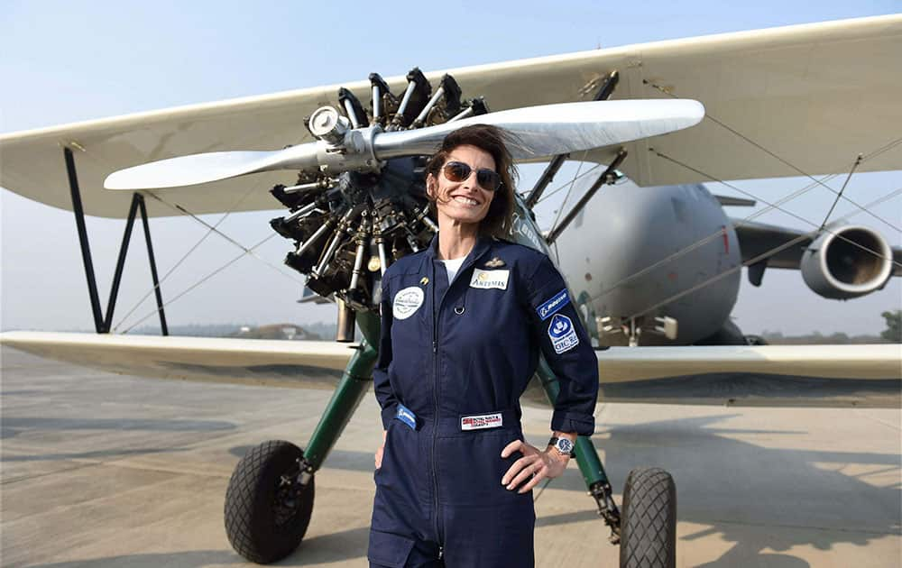 British aviator Tracey Curtis Taylor after a fly past in Hindon on Tuesday. Taylor, a renowned adventurer and pilot, is currenlty in India as part of her journey from the United Kingdom to Australia in a biplane.