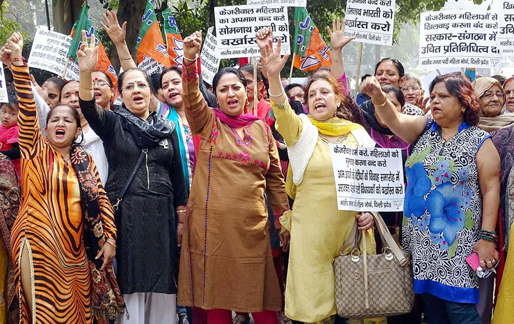 Delhi BJP women workers holding a protest against Delhi Chief Minister Arvind Kejriwal residence in New Delhi.