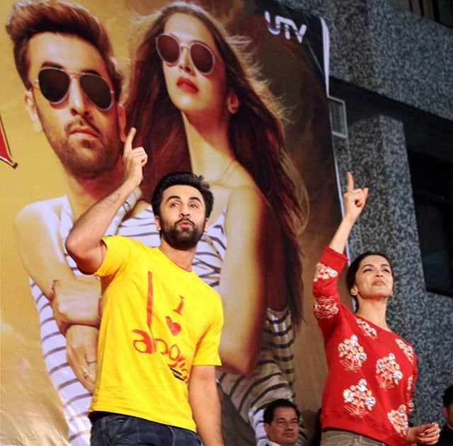 Actor Ranbir Kapoor and Deepika Padukone for promotion of their new Film Tamasha at Pillais college in New Panvel, in Navi Mumbai.