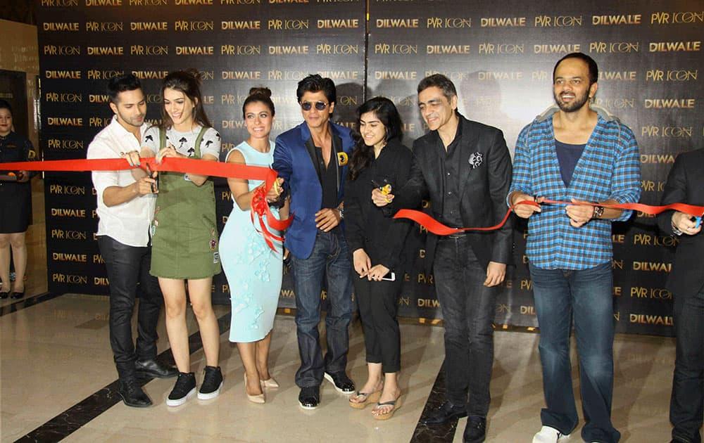 Actors Shah Rukh Khan, Kajol, Varun Dhawan, Kriti Sanonat a music launch event of their upcoming film Mumbai.